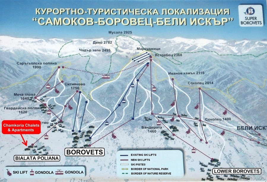 Карты и схемы курорта Боровец